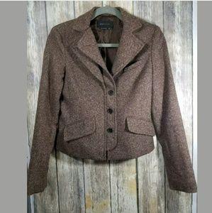 BCBG brown tweed fitted blazer xs
